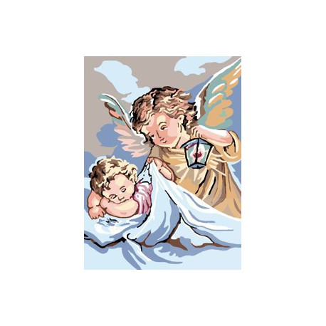 Anioł Stróż kanwa z nadrukiem z muliną
